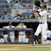 New York Yankees\' Ichiro Suzuki, of Japan, hits a single during the first inning of a baseball game against the Tampa Bay Rays, Friday, June 21, 2013, in New York. (AP Photo/Frank Franklin II)