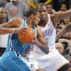 Oklahoma City Thunder small forward Kevin Durant (35) defends on New Orleans Hornets small forward Trevor Ariza (1) during the NBA basketball game between the Oklahoma City Thunder and the New Orleans Hornets at the Chesapeake Energy Arena on Wednesday, Jan. 25, 2012, in Oklahoma City, Okla. Photo by Chris Landsberger, The Oklahoman