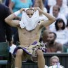 Tommy Haas of Germany changes shirt during a break in a Men\'s singles match against Novak Djokovic of Serbia at the All England Lawn Tennis Championships in Wimbledon, London, Monday, July 1, 2013. (AP Photo/Alastair Grant)