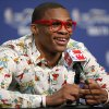 Oklahoma City\'s Russell Westbrook smiles during a press conference after Game 1 of the NBA Finals between the Oklahoma City Thunder and the Miami Heat at Chesapeake Energy Arena in Oklahoma City, Tuesday, June 12, 2012. Photo by Bryan Terry, The Oklahoman