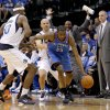 Oklahoma City\'s Kevin Durant (35) tries to get around Brendan Haywood (33) of Dallas and Jason Kidd (2) during game 1 of the Western Conference Finals in the NBA basketball playoffs between the Dallas Mavericks and the Oklahoma City Thunder at American Airlines Center in Dallas, Tuesday, May 17, 2011. Photo by Bryan Terry, The Oklahoman