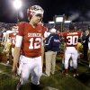 OU\'s Landry Jones (12) walks off the field after the college football game between the University of Oklahoma Sooners (OU) and the Notre Dame Fighting Irish at Gaylord Family-Oklahoma Memorial Stadium in Norman, Okla., Saturday, Oct. 27, 2012. Oklahoma lost 30-13. Photo by Bryan Terry, The Oklahoman