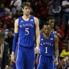 Kansas\' Jeff Withey (5) and Naadir Tharpe (1) walk on to the court in the final seconds of the second half as the University of Oklahoma Sooners (OU) defeat the Kansas Jayhawks (KU) 72-66 in NCAA, men\'s college basketball at The Lloyd Noble Center on Saturday, Feb. 9, 2013 in Norman, Okla. Photo by Steve Sisney, The Oklahoman