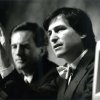 Photo -  John Sculley (left) and Steve Jobs of Apple Computers speak at a press conference following the annual shareholders meeting on Jan. 23, 1985.