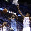 Oklahoma City\'s Jeremy Lamb (11) shoots a lay up as Oklahoma City\'s Serge Ibaka (9) defends during Game 5 in the first round of the NBA playoffs between the Oklahoma City Thunder and the Memphis Grizzlies at Chesapeake Energy Arena in Oklahoma City, Tuesday, April 29, 2014. Photo by Sarah Phipps, The Oklahoman