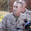 Brig. Gen. James W. Lukeman, Commanding General, 2nd Marine Division, speaks to press at Camp Lejeune in Jacksonville, N.C. on Tuesday, March 19, 2013, regarding Monday night\'s mortar shell explosion killed that seven Marines and injured a half-dozen more during mountain warfare training in Nevada. The exercise involved members of the 2nd Marine Expeditionary Force from Camp Lejeune. (AP Photo/The Jacksonville Daily News, John Althouse)