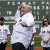Former Brooklyn Dodger Ralph Branca throws out the first pitch before a baseball game between the Boston Red Sox and the Tampa Bay Rays in Boston, Sunday, April 15, 2012. The Red Sox will celebrate the 100th anniversary of Fenway\'s opening when they host the New York Yankees on Friday. (AP Photo/Michael Dwyer)