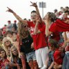 Yukon fans cheer during a high school football game between Yukon and Mustang at Mustang High School in Mustang, Okla., Friday, Sept. 2, 2011. Photo by Nate Billings, The Oklahoman