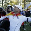 Europe\'s Sergio Garcia throws his shoes to fans after winning the Ryder Cup PGA golf tournament Sunday, Sept. 30, 2012, at the Medinah Country Club in Medinah, Ill. (AP Photo/Charlie Riedel) ORG XMIT: PGA230
