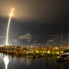 A 71-second exposure as seen from Port Canaveral, Sunday, Oct. 7, 2012. SpaceX\'s Falcon 9 rocket successfully lifted off from Cape Canaveral Air Force Station, bringing supplies destined for the ISS into orbit. (AP Photo/Florida Today, Malcolm Denemark)