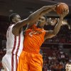Oklahoma State\'s Le\'Bryan Nash (2) grabs a rebound beside Oklahoma\'s Andrew Fitzgerald (4) during the Bedlam men\'s college basketball game between the University of Oklahoma Sooners and the Oklahoma State Cowboys in Norman, Okla., Wednesday, Feb. 22, 2012. Photo by Bryan Terry, The Oklahoman