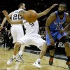Oklahoma City\'s James Harden (13) goes for the ball beside San Antonio\'s Tony Parker (9) and Manu Ginobili (20) during Game 1 of the Western Conference Finals between the Oklahoma City Thunder and the San Antonio Spurs in the NBA playoffs at the AT&T Center in San Antonio, Texas, Sunday, May 27, 2012.Oklahoma City lost 101-98. Photo by Bryan Terry, The Oklahoman