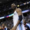 Denver Nuggets center Nene (31) from Brazil reacts during the second half of game 3 of a first-round NBA basketball playoff series against the Oklahoma City Thunder Saturday, April 23, 2011, in Denver. Oklahoma City beat Denver 97-94 to take a 3-0 series lead. (AP Photo/Jack Dempsey)