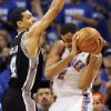 San Antonio\'s Danny Green (4) defends Oklahoma City\'s Thabo Sefolosha (2) during Game 4 of the Western Conference Finals between the Oklahoma City Thunder and the San Antonio Spurs in the NBA playoffs at the Chesapeake Energy Arena in Oklahoma City, Saturday, June 2, 2012. Photo by Nate Billings, The Oklahoman