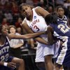 Courtney Paris fights for a rebound with Chelsea Cole (22) and Sarah Agade (4) in the second half of the NCAA women\'s basketball tournament game between the University of Oklahoma and Pittsburgh at the Ford Center in Oklahoma City, Okla. on Sunday, March 29, 2009. PHOTO BY STEVE SISNEY, THE OKLAHOMAN