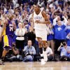 Oklahoma City fans celebrate after a basket by Kevin Durant (35) as L.A.\'s Kobe Bryant (24) walks to the bench for a timeout in the fourth quarter during the NBA basketball game between the Los Angeles Lakers and the Oklahoma City Thunder in the first round of the NBA playoffs at the Ford Center in Oklahoma City, Thursday, April 22, 2010. Oklahoma City won, 101-96. Photo by Nate Billings, The Oklahoman