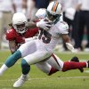 Miami Dolphins wide receiver Davone Bess (15) is tackled by Arizona Cardinals cornerback William Gay (22) during the first half of an NFL football game, Sunday, Sept. 30, 2012, in Glendale, Ariz. (AP Photo/Paul Connors)