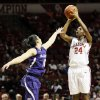 Oklahoma\'s Sharane Campbell (24) shoots against Kansas State\'s Leticia Romero (10) in the first half during an NCAA women\'s basketball game between the Oklahoma Sooners (OU) and the Kansas State Wildcats at Lloyd Noble Center in Norman, Okla., Saturday, Jan. 11, 2014. Photo by Nate Billings, The Oklahoman