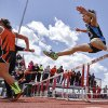 Okeene\'s Bethany Meier clears the hurdle in the Class A 100m hurdles during the Class A and 2A state championship track meet at Carl Albert High School on Friday, May 3, 2013, in Midwest City, Okla. Photo by Chris Landsberger, The Oklahoman
