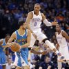 Oklahoma City Thunder\'s Russell Westbrook (0) defends on New Orleans Hornets\' Greivis Vasquez (21) during the NBA basketball game between the Oklahoma City Thunder and the New Orleans Hornets at the Chesapeake Energy Arena on Wednesday, Feb. 27, 2013, in Oklahoma City, Okla. Photo by Chris Landsberger, The Oklahoman