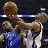 Oklahoma City Thunder guard Daequan Cook (14) and Memphis Grizzlies forward Shane Battier, right, fight for a rebound during the first half of Game 6 of a second-round NBA basketball playoff series on Friday, May 13, 2011, in Memphis, Tenn. (AP Photo/Wade Payne)