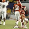 OU\'s Sam Bradford reacts after throwing an interception during the second half of the BCS National Championship college football game between the University of Oklahoma Sooners (OU) and the University of Florida Gators (UF) on Thursday, Jan. 8, 2009, at Dolphin Stadium in Miami Gardens, Fla. PHOTO BY BRYAN TERRY, THE OKLAHOMAN