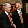 Boone Pickens (left) is congratulated by athletic director Mike Holder after the announcement of Picken\'s gift of $165 million to Oklahoma State University\'s athletic department in Stillwater, Oklahoma on Tuesday, January 10, 2006. PHOTO BY STEVE SISNEY, The Oklahoman