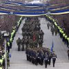 Kosovo Security Force honor guard leads the parade in the center of Pristina marking the 5th anniversary since Kosovo seceded from Serbia on Sunday, Feb. 17, 2013. Serbia rejects Kosovo\'s independence. (AP Photo/Visar Kryeziu)