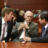 George Zimmerman, right, talks with his defense counsel, Mark O\'Mara, left, and Don West, after Judge Debra Nelson informed them that the jury had a questions, on the 25th day of Zimmerman\'s trial at the Seminole County Criminal Justice Center in Sanford, Fla., Saturday, July 13, 2013. Zimmerman is charged with second-degree murder for the 2012 shooting death of Trayvon Martin.(AP Photo/Joe Burbank, Pool) ORG XMIT: FLJR223