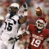 OU\'s Demontre Hurst defends Utah State\'s Dontel Watkins during the second half of the college football game between the University of Oklahoma Sooners (OU) and Utah State University Aggies (USU) at the Gaylord Family-Oklahoma Memorial Stadium on Saturday, Sept. 4, 2010, in Norman, Okla. Photo by Bryan Terry, The Oklahoman