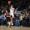 Oklahoma City\'s Russell Westbrook celebrates in front of Portland\'s Rudy Fernandez as Oklahoma City wins the NBA basketball game between the Oklahoma City Thunder and the Portland Trail Blazers at the Oklahoma City Arena on Friday, Nov. 12, 2010. Photo by Bryan Terry, The Oklahoman