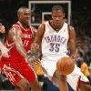 Devin Durant dribbles past Von Wafer in the first half as the Oklahoma City Thunder plays the Houston Rockets at the Ford Center in Oklahoma City, Okla. on Friday, January 9, 2009. Photo by Steve Sisney/The Oklahoman