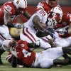 Oklahoma\'s Chris Brown (29) is stuffed by the Nebraska defense during the first half of the college football game between the University of Oklahoma Sooners (OU) and the University of Nebraska Cornhuskers (NU) on Saturday, Nov. 7, 2009, in Lincoln, Neb. Photo by Chris Landsberger, The Oklahoman