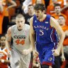 KU\'s Jeff Withey (5) reacts after a basket in front of OSU\'s Philip Jurick (44) in the first half during a men\'s college basketball game between the Oklahoma State University Cowboys and the University of Kansas Jayhawks at Gallagher-Iba Arena in Stillwater, Okla., Monday, Feb. 27, 2012. Photo by Nate Billings, The Oklahoman