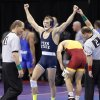 Penn State\'s David Taylor reacts after the win over Iowa State\'s Michael Moreno in the 165 pound match during the 2014 NCAA Div. 1 Wrestling Championships at Chesapeake Energy Arena in Oklahoma City, Okla. on Friday, March 21, 2014. Photo by Chris Landsberger, The Oklahoman