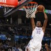 Oklahoma City\'s Kevin Durant (35) dunks the ball during the NBA basketball game between the Oklahoma City Thunder and the Golden State Warriors at the Oklahoma City Arena, Tuesday, March 29, 2011. Photo by Bryan Terry, The Oklahoman