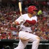 Photo - St. Louis Cardinals' Jon Jay watches his RBI triple during the fifth inning of a baseball game against the New York Mets Tuesday, June 17, 2014, in St. Louis. (AP Photo/Jeff Roberson)