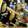 Kiowa\'s Addy Clift (5), left, tries to take the ball from Cheyenne=Reydon\'s Morgan Latta (5) during a Class A girls semifinal game of the state high school basketball tournament between Cheyenne-Reydon and Kiowa at Jim Norick Arena, The Big House, on State Fair Park in Oklahoma City, Friday, March 1, 2013. Photo by Nate Billings, The Oklahoman