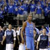 Oklahoma City\'s Kevin Durant (35) walks of the court after losing game 1 of the Western Conference Finals in the NBA basketball playoffs between the Dallas Mavericks and the Oklahoma City Thunder at American Airlines Center in Dallas, Tuesday, May 17, 2011. Photo by Bryan Terry, The Oklahoman