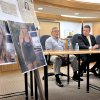 Photo - Sitting in front of a display of news articles and photos of Brenda Heist, from left, her ex-husband, Lee Heist, Detective Sgt. John Schofield and Lititz Chief William Seace address a news conference in Litiz, Pa. on Wednesday, May 1, 2013. Brenda Heist, who mysteriously disappeared after dropping off her children for school 11 years ago, has surfaced in Florida, telling police she traveled there on a whim with homeless hitchhikers, slept under bridges and survived by scavenging food and panhandling, authorities said Wednesday. (AP Photo/Intelligencer Journal, Dan Marschka)