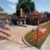 Workers use horizontal drilling machines to install a high pressure gas line at the intersection of Woods Avenue and Denison Drive near Berry Road in Norman, Oklahoma in Friday, Sept. 12, 2008. . BY STEVE SISNEY, THE OKLAHOMAN