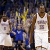 Oklahoma City\'s Kevin Durant (35) celebrates his go ahead shot in the finals seconds of Game 1 in the second round of the NBA playoffs between the Oklahoma City Thunder and the Memphis Grizzlies at Chesapeake Energy Arena in Oklahoma City, Sunday, May 5, 2013. Photo by Sarah Phipps, The Oklahoman