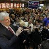 Republican presidential candidate, former House Speaker Newt Gingrich, speaks during a campaign event at a Chick-Fil-A in Anderson, S.C., Saturday, Jan. 21, 2012, on South Carolina\'s Republican primary election day. (AP Photo/Matt Rourke) ORG XMIT: SCMR125