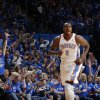 Oklahoma City\'s Serge Ibaka (9) celebrates during Game 3 of the Western Conference Finals in the NBA playoffs between the Oklahoma City Thunder and the San Antonio Spurs at Chesapeake Energy Arena in Oklahoma City, Sunday, May 25, 2014. Photo by Bryan Terry, The Oklahoman