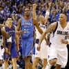 Oklahoma City\'s Kevin Durant (35) and Nick Collison (4) walk off the court as Jason Kidd (2) and Shawn Marion (0) Dallas celebrate after Oklahoma City\'s loss in game 5 of the Western Conference Finals in the NBA basketball playoffs between the Dallas Mavericks and the Oklahoma City Thunder at American Airlines Center in Dallas, Wednesday, May 25, 2011. Photo by Bryan Terry, The Oklahoman
