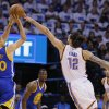 Oklahoma City's Steven Adams (12) blocks the shot of Golden State's Stephen Curry (30) during Game 3 of the Western Conference finals in the NBA playoffs between the Oklahoma City Thunder and the Golden State Warriors at Chesapeake Energy Arena in Oklahoma City, Sunday, May 22, 2016. Oklahoma City won 133-105. Photo by Bryan Terry, The Oklahoman