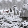 A worker with the National Park Service clears snow from a walkway alone the Korean War Veterans Memorial in Washington, Monday, Feb. 15, 2016. Bitter cold was replaced by snow, sleet and rain Monday in the mid-Atlantic states and the South, but many residents were able to hunker down at home with federal offices and many businesses closed for Washington\'s Birthday. (AP Photo/Carolyn Kaster)