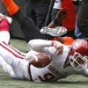Oklahoma\'s Trevor Knight (9) hits the turf that had him leave the game holding his wrist before half time during the Bedlam college football game between the Oklahoma State University Cowboys (OSU) and the University of Oklahoma Sooners (OU) at Boone Pickens Stadium in Stillwater, Okla., Saturday, Dec. 7, 2013. Photo by Chris Landsberger, The Oklahoman