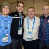 Photo - IOC President Thomas Bach poses with short track speed skaters J.R. Celski, left, and Kyle Carr, second from left, and speed skater Patrick Meek, right, all of the United States, during a visit to the Athletes Olympic Village prior to the 2014 Winter Olympics in Sochi, Russia, on Saturday, Feb. 1, 2014. The games run from Feb. 7-23. (AP Photo/Pascal Le Segretain, Pool)