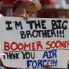 Photo - A Sooner fan supports both teams during the first half of the college football game between the University of Oklahoma Sooners (OU) and the Air Force Falcons at the Gaylord Family - Memorial Stadium on Saturday, Sept. 18, 2010, in Norman, Okla.   Photo by Chris Landsberger, The Oklahoman